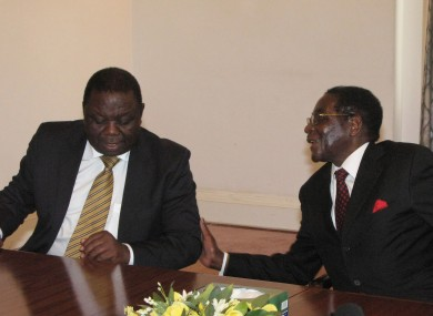 Morgan Tsvangirai (L) and Robert Mugabe (R)