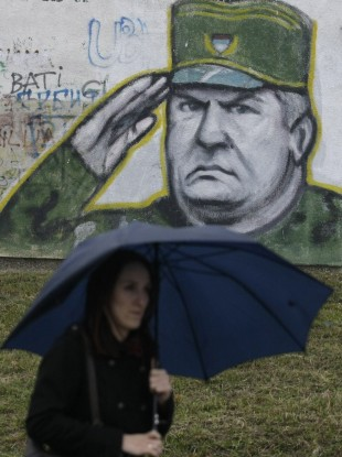 Graffiti in Belgrade of Ratko Mladic, wanted for genocide and captured in Serbia