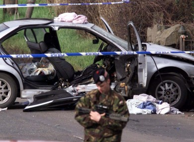 Security forces a tthe scene of the explosion in Lurgan, Co. Armagh where Rosemary Nelson died (File photo)