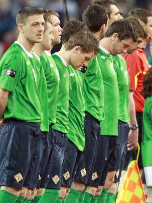 Players from Northern Ireland stand for their anthem at the Aviva Stadium game with Scotland in February.