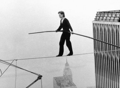 Frenchman Philippe Petit was arrested immediately after his successful tightrope crossing between the Twin Towers in New York - around 1,350 feet off the ground - on 7 August, 1974.
