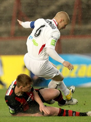 Bohemians' Danny Joyce was shown a red card for this tackle on Richie Ryan of Sligo Rovers.