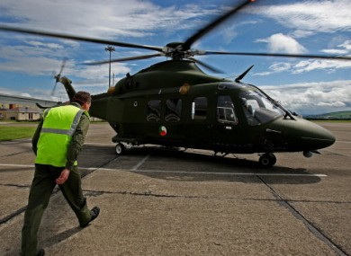 File photo of Defence Forces personnel walking to one of the AW 139 helicopters at Baldonnel.