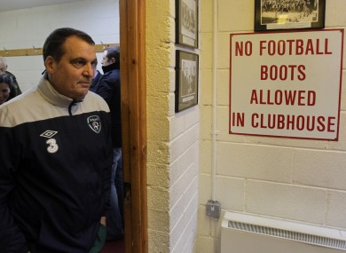 Marco Tardelli at a Gannon Park press briefing earlier.