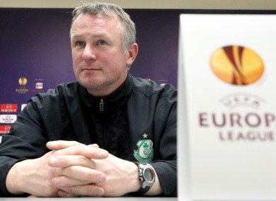 Shamrock Rovers boss Michael O'Neill at the press conference last night.
