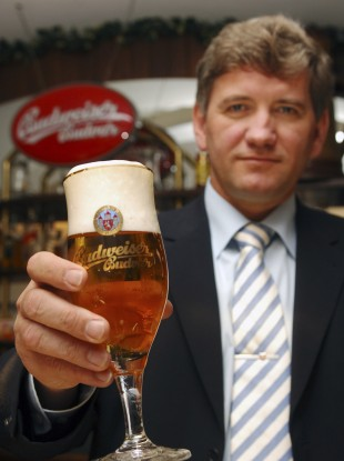 When is a Budweiser not a Budweiser? Budvar managing director Jiri Bocek poses with a glass of Budvar beer - locally known as 'Budweiser'.