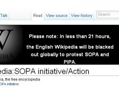 The notice on Wikipedia warning readers about the site's planned blackout.