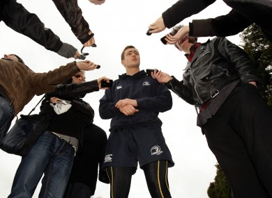 Leinster's Colm O'Shea speaks to reporters following training yesterday.