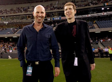 Jim Stynes, right, and his brother Brian at last year's International Rules test between Australia and Ireland in Melbourne.