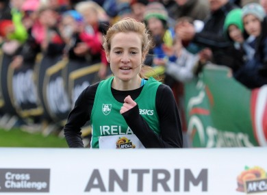 Fionnuala Britton winning the Antrim IAAF Cross Country in January.