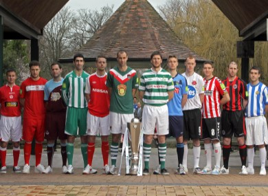 This year's Airtricity League captains at the launch of the 2012 season last Friday.