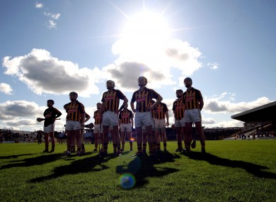 The Kilkenny team during the national anthem.