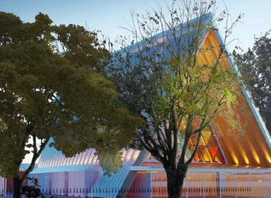 An artist's rendering of Shigeru Ban's design for the temporary cathedral.