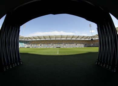 The view from the tunnel at the Municipal Stadium Gydnia yesterday.