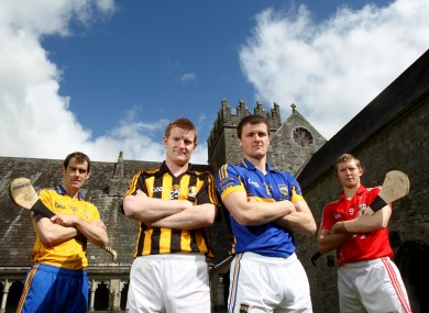 Clare's Pat Donnellan, Kilkenny's Richie Power, Tipperary's Pa Bourke and Cork's Lorcan McLaughlin at Holycross Abbey