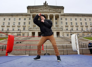 Paul McCloskey during an open training session at Stormont ahead of Saturday night's fight against former WBO light welterweight World champion DeMarcus Corley.