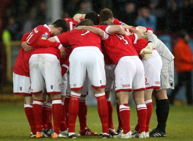 Shelbourne's pre-match huddle.