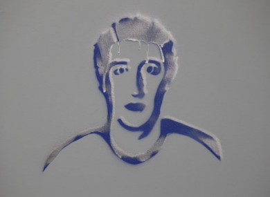 An artist's drawing of Facebook founder Mark Zuckerberg inside of Facebook headquarters in Menlo Park, California.