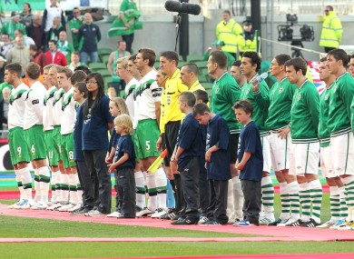 The North and the Republic line-up for a match in May of last year at the Aviva Stadium.