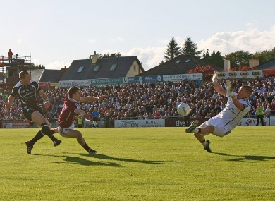 Sligo's Adrian Marren striking to the net in last month's Connacht SFC semi-final.