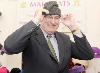 Phil Hogan tries on a hat at the Ploughing Championships in Wexford today.