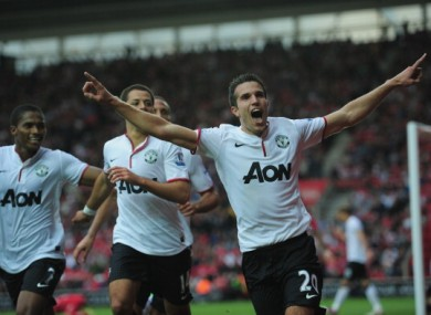 Robin Van Persie celebrates the winning goal against Southampton.
