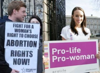 Two separate protests - one pro-choice and another anti-abortion - outside the Dáil this year.