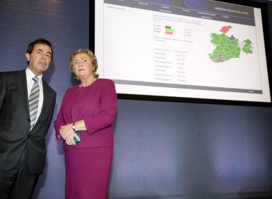Justice Minister Alan Shatter and Children's Minister Frances Fitzgerald at the final result announcement in Dublin Castle.