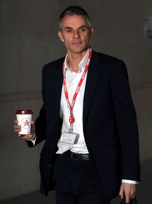 Tim Davie, the BBC's acting director general, arriving for work in London this morning