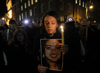 A vigil for Savita in Dublin last night.