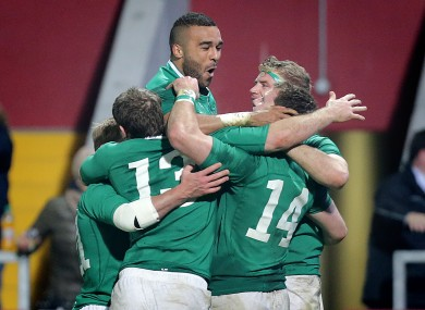 Simon Zebo congratulates Craig Gilroy after his second try.
