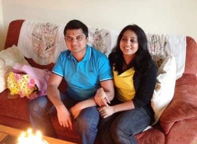 Savita Halappanavar (right), with her husband Praveen. Praveen Halappanavar has said he would not co-operate with a HSE investigation into his wife's death.