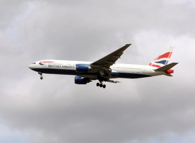 File photo of a British Airways-branded Boeing 777 aircraft.
