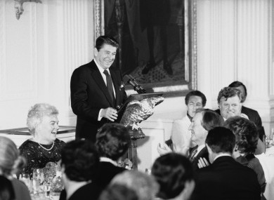 President Ronald Reagan during a St Patrick's Day luncheon at the White House in 1982 in honour of Taoiseach Charles Haughey, seated centre.
