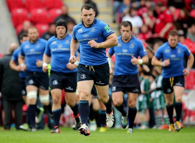 Cian Healy leads the team out against Scarlets in Wales.