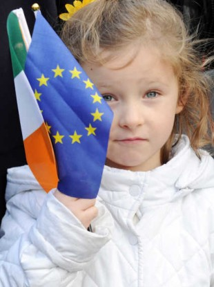 Ruby Nealon, 4, attending a ceremony at Dublin Castle yesterday to mark Ireland's EU presidency, and the 40th anniversary of Ireland joining the EEC.
