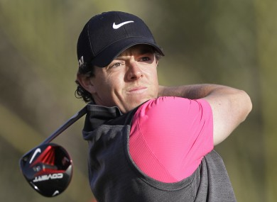 Rory McIlroy tees off on the 14th hole during the first round of Abu Dhabi Golf Championship.