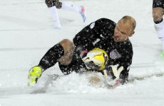 In pictures: USA's game last night was snow joke