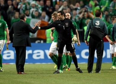 Ireland goalkeeper David Forde celebrates after the game