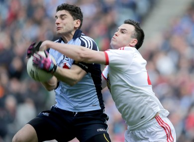 Dublin's Bernard Brogan with Cathal McCarron of Tyrone.