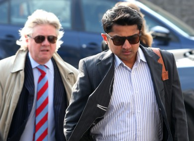 Praveen Halappanavar and his solicitor Gerard O'Donnell arrive for the inquest on Tuesday