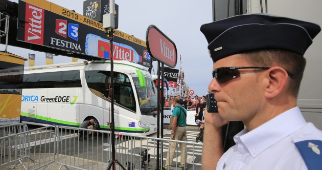 A bus got stuck at the finish line of the Tour de France