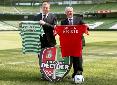 Celtic boss Neil Lennon and Minister of State for Tourism and Sport Michael Ring TD.