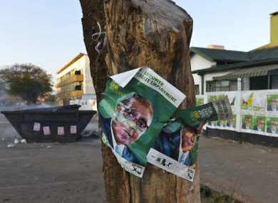 Election posters in support of Zimabwean president Robert Mugabe in Harare.