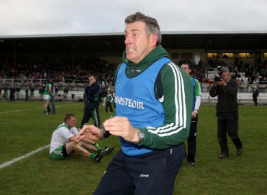 Jack Sheedy celebrates Moorefield's Kildare county final win in 2010.