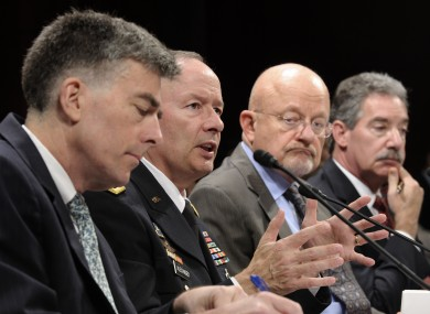 National Security Agency director Gen. Keith Alexander, second from left, testifies before the House Permanent Select Committee on Intelligence about potential changes to the Foreign Intelligence Surveillance Act (FISA)