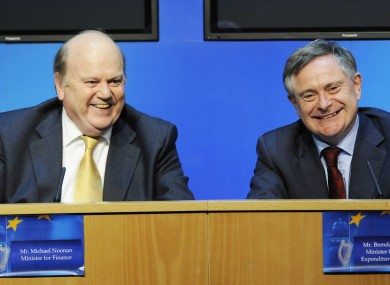 File photo of ministers Michael Noonan and Brendan Howlin.