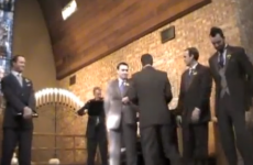 Man collects on slap bet in the middle of his own wedding