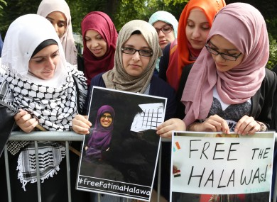 Women outside the Egyptian embassy in Dublin in August protesting at the detention of the Halawa siblings.