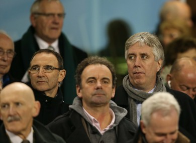 Martin O'Neill with John Delaney during the Ireland-Australia rugby match yesterday.